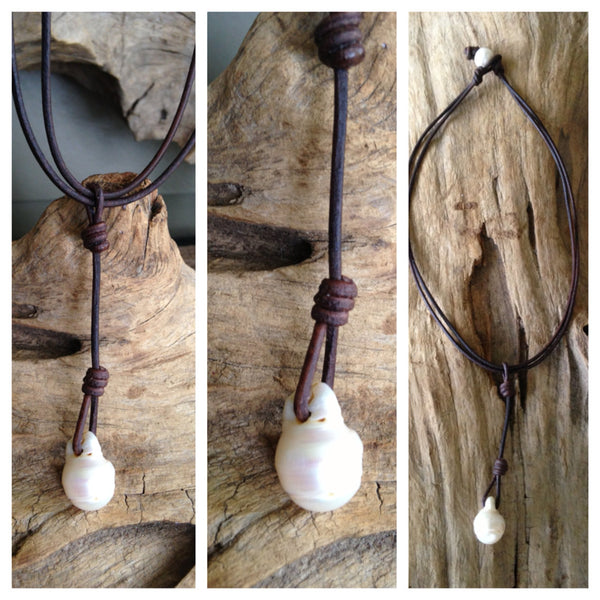 Single Baroque Freshwater Pearl and Leather Drop Necklace