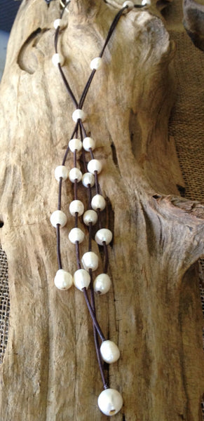 Stunning Long Dramatic Pearl and Leather Lariat Necklace