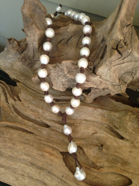 Baroque Freshwater Pearls and Leather Necklace with HUGE Fireball Drop Pearls