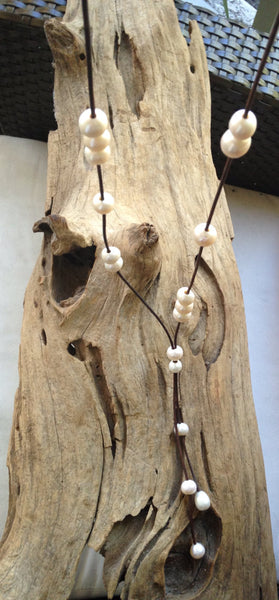 Long Pearl Lariat Style Necklace on Leather Cord
