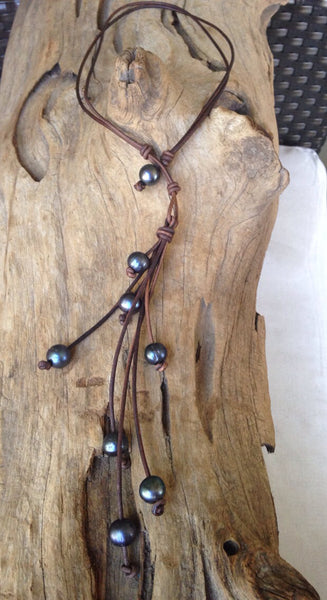 Black Peacock Pearl Drop Necklace