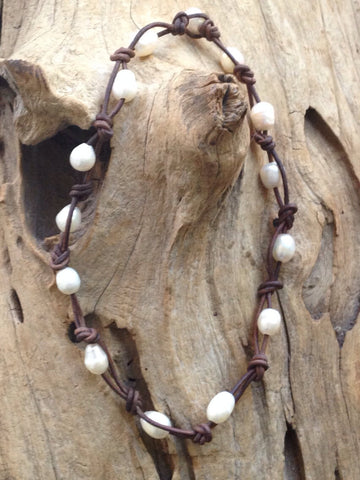 Freshwater Oval Pearls and Leather Necklace