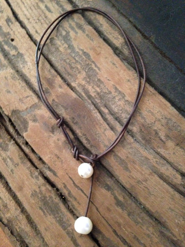 Double Drop Pearl Necklace