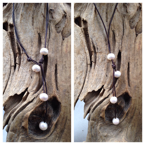 Signature Pearl and Leather Lariat - Wears Four Different Ways