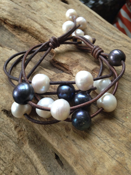 Black and White Multi-Strand Leather Bracelet