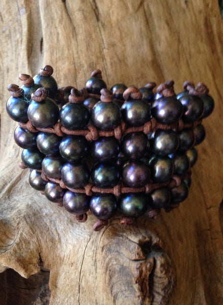 Four Row Black Peacock  Pearls and Leather Cuff Style Bracelet