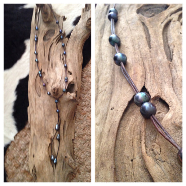 Long Black Peacock Pearls and Leather Necklace