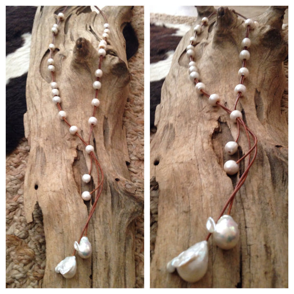 Fireball Pearl Necklace with Round Baroque Pearls
