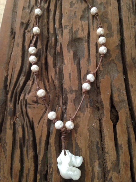 Baroque Freshwater Pearls and Leather Necklace