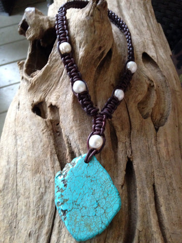 Turquoise and Freshwater Pearls and Woven Leather Necklace