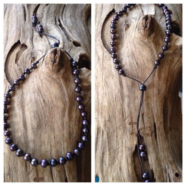 Black Pearls and Leather  Necklace - Wear it Two Ways