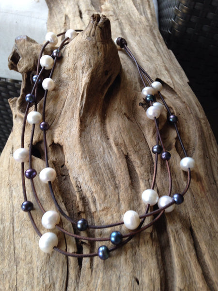 Black and White Pearls on Leather Necklace