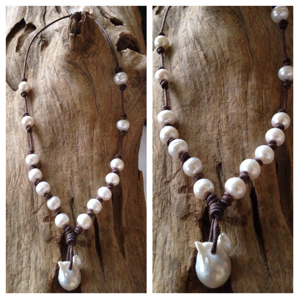 Freshwater Baroque & Fireball Pearl and Leather Necklace