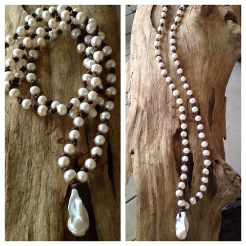 Freshwater Pearl Mala Necklace with Large White Fireball Accent Pearl