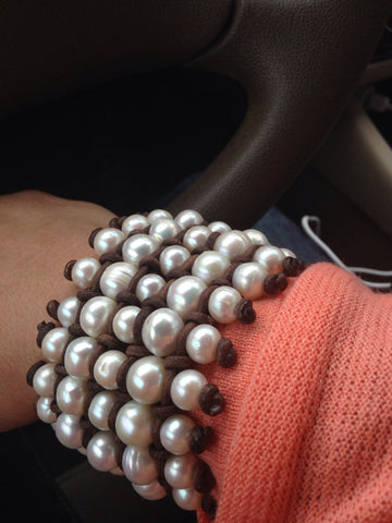 Five Row Freshwater Pearl and Leather Cuff Style Bracelet