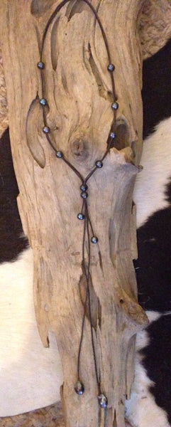 Long Black Peacock Pearls and Leather Lariat