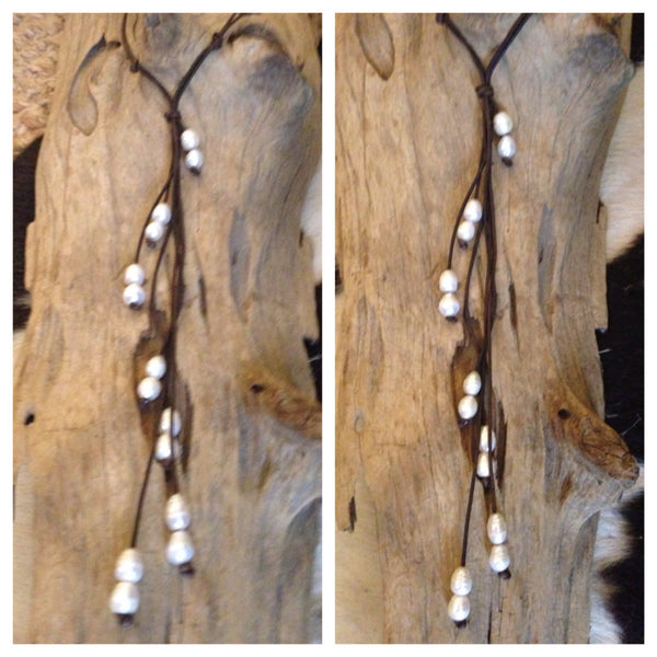 Cascading Freshwater Baroque Pearls and Leather Necklace