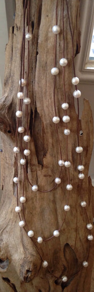 Baroque Pearls on Leather Cord - Triple Strand