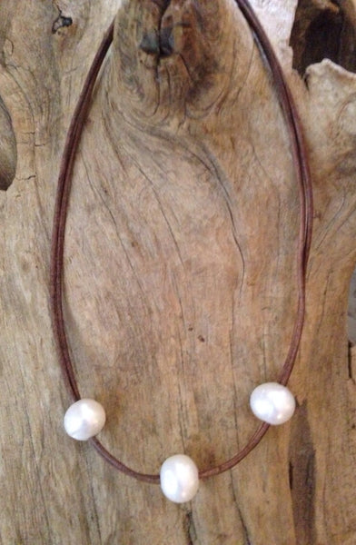 Three HUGE Pearls on Double Leather Cord Necklace
