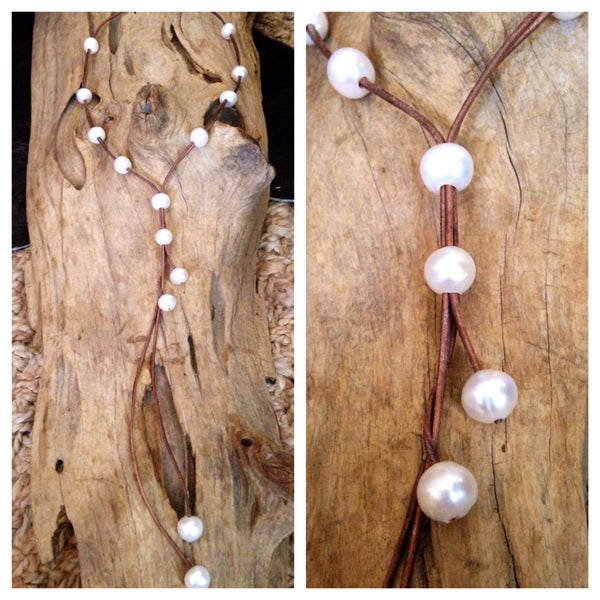White Baroque Pearls and Leather Lariat - Long Style
