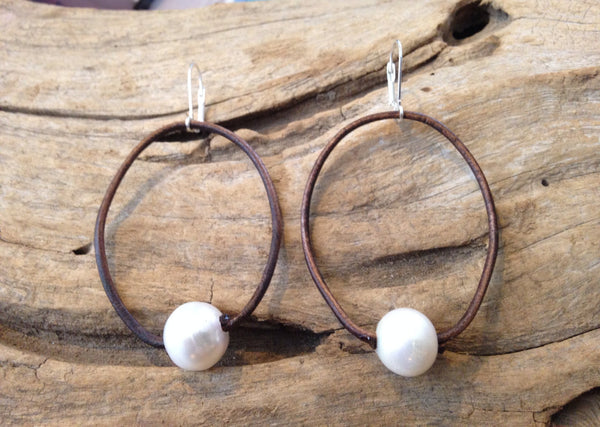 Pearl and Leather Hoop Earrings