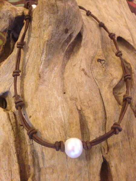 Single Pearl and Leather Knotted Necklace - HUGE Freshwater Pearl