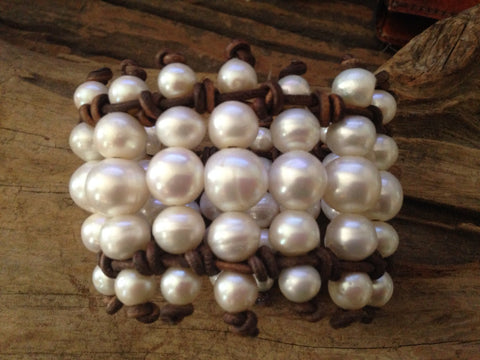 Freshwater Pearls Cuff Bracelet - Baroque Pearls and Leather