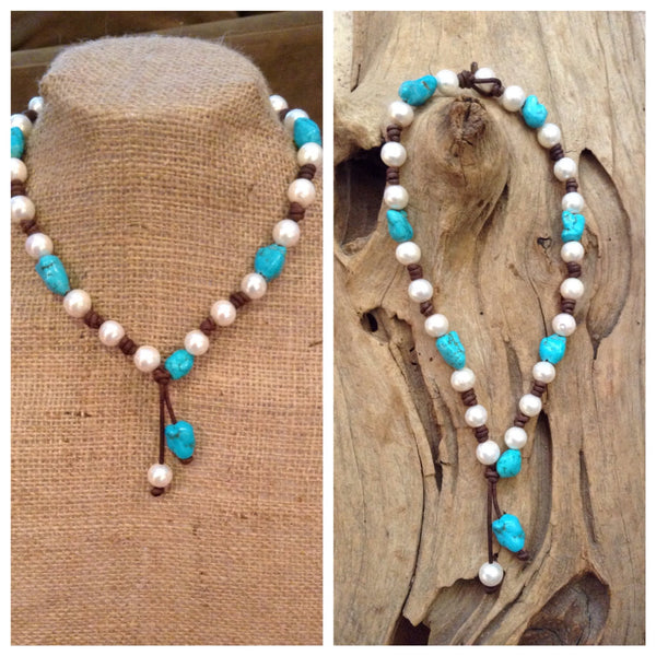 Turquoise and Freshwater Pearls and Leather Necklace