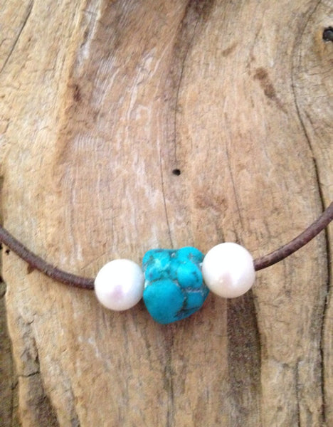 Pearls and Turquoise on Leather Necklace