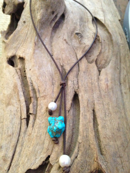 Turquoise and Freshwater Pearls Necklace