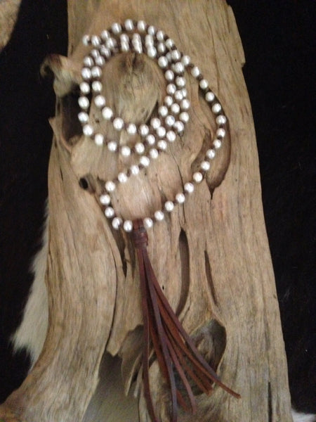 Leather Tassel Necklace with Freshwater Pearls