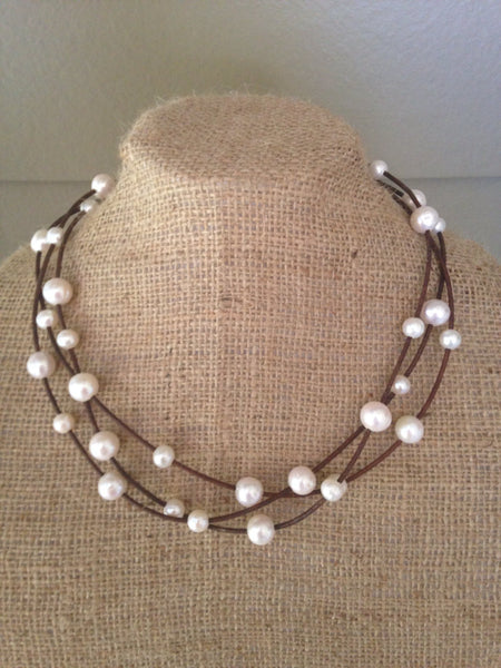 Baroque Pearls and Leather Triple Strand Necklace