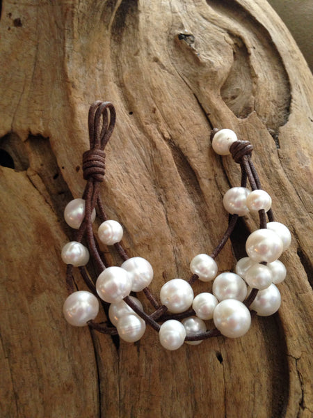 White Pearls and Leather Multi-strand Bracelet