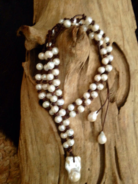 Freshwater Pearls with Fireball Accent Pearl and Leather Necklace