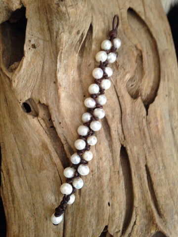 Freshwater Pearls and Leather Bracelet - Double Row
