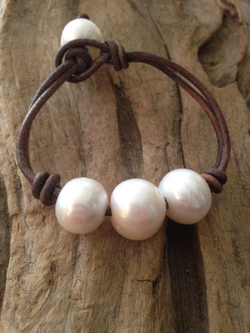 Huge 14-15 mm Freshwater Pearls and Leather Bracelet