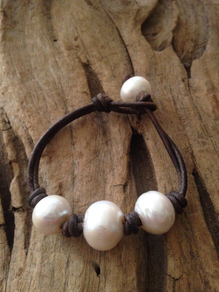 Huge Freshwater Pearl and Leather Bracelet