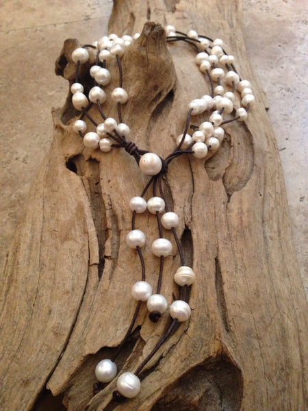 Versatile 4 Strand Freshwater Baroque Pearl and Leather Necklace