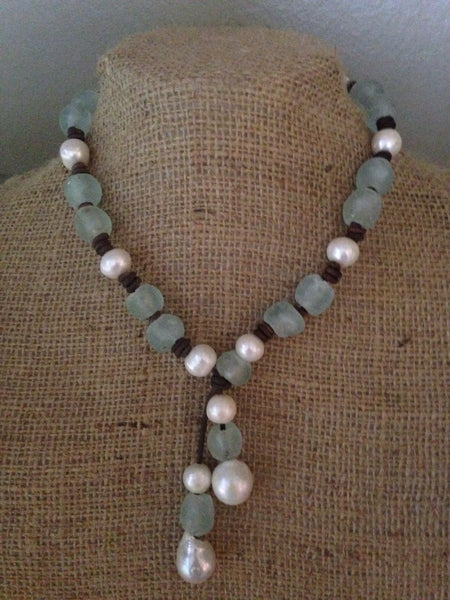 Sea Glass and Baroque Pearl and Leather Necklace