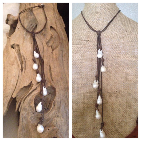 Six Strand Baroque Pearls and Leather Drop Necklace