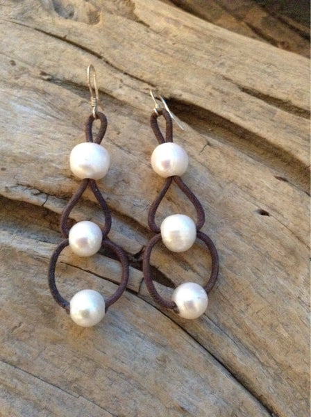 Triple Loop Freshwater Pearl and Leather Earrings