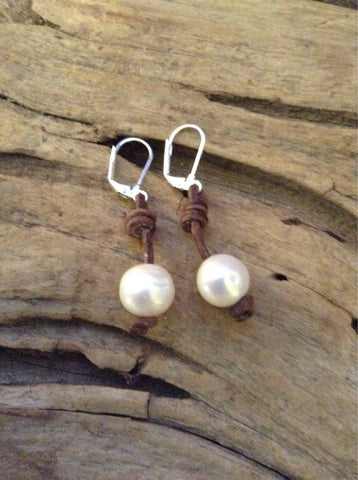 Freshwater Pearl Earrings on Leather Cord
