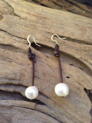 Long freshwater pearl drop earrings