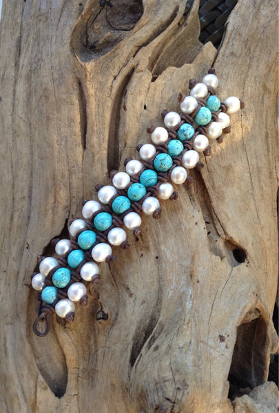 Turquoise, Freshwater Pearls and Leather Cuff Style Bracelet