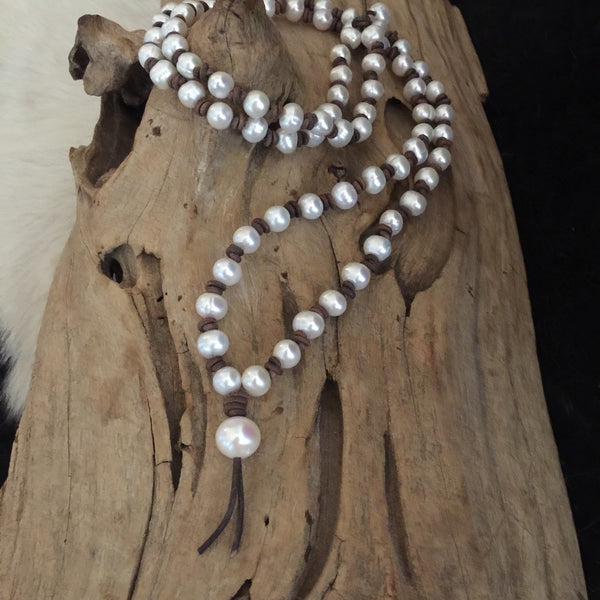 Pearl and Leather Mala Bead Necklace