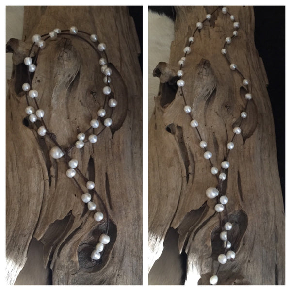 Double Strand Pearl and Leather Versatile Necklace