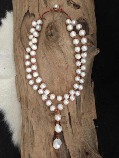Chunky Double Strand Freshwater Pearl And Leather Necklace