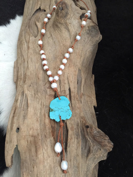 Turquoise Slab with Freshwater Pearls Double Knotted on Leather