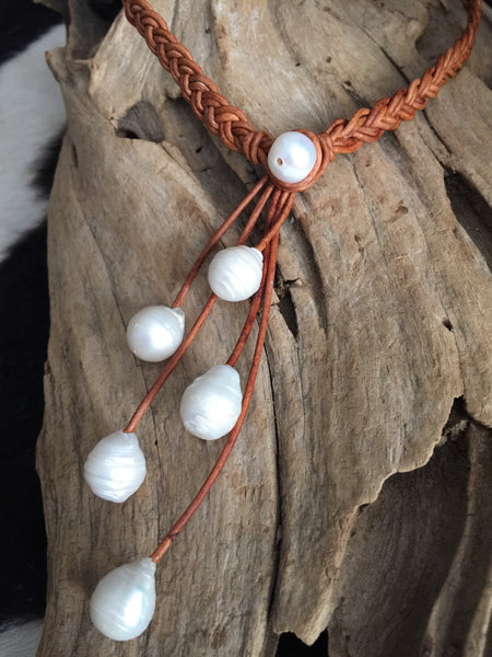 Baroque Pearls and Braided Leather Necklace