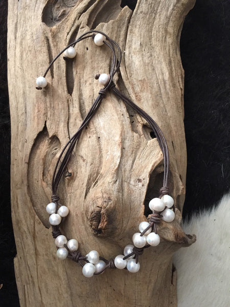 Pearl and Leather Cluster Necklace